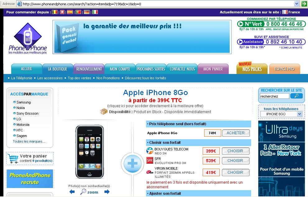 l u0026 39 iphone bouygues telecom  u00e0 399 u20ac